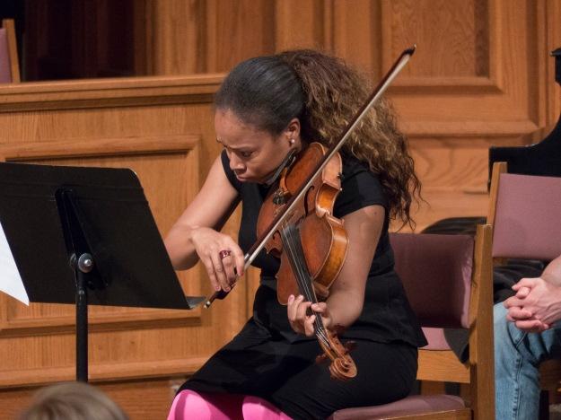 Jen Arnold, violist, in action with Mousai Remix